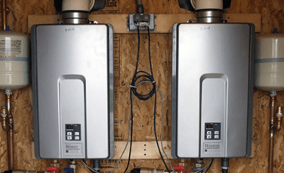 Twin water heater setup after installation